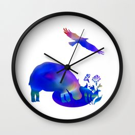 Hippo at the pond Wall Clock