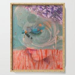lavender, blue & peach portrait Serving Tray