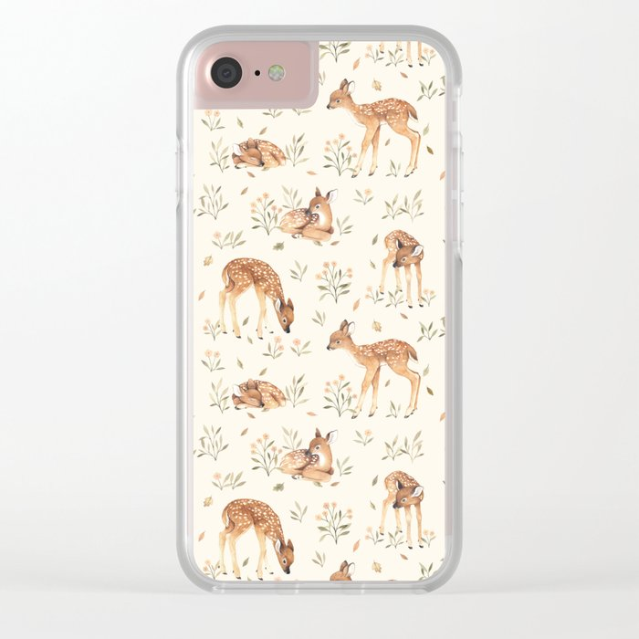 Wildflower Fawn Clear iPhone Case