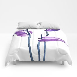 three purple flamingo flowers Comforters