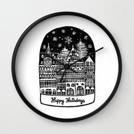 Linocut Holidays Wall Clock