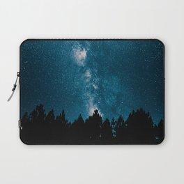 Blue Milky Way At Night Pine Tree Silhouette Stars Night Time Laptop Sleeve