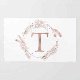 Letter T Rose Gold Pink Initial Monogram Rug