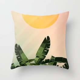 Sunny heliconia Throw Pillow
