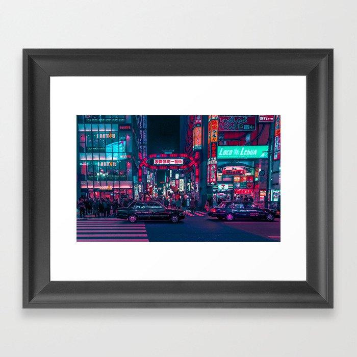 Cyberpunk Tokyo Street Gerahmter Kunstdruck