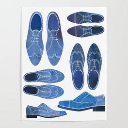 Blue Brogue Shoes Poster
