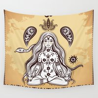 om Wall Tapestries featuring om by flamenco72