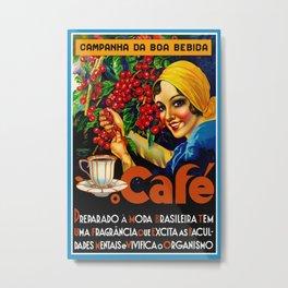 Vintage Brazil Coffee Ad Metal Print