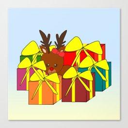 Cute reindeer hiding behind Christmas gifts Canvas Print