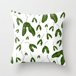 Maple Seeds - Green and White Throw Pillow