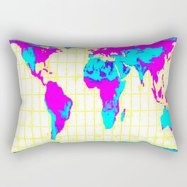 World Map: Gall Peters Colorful Rectangular Pillow