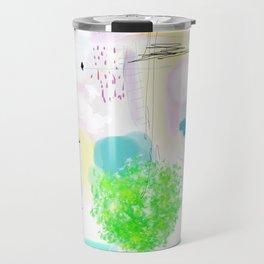 Peinture  tons pastels chat oiseau maisons arbre bulles Travel Mug