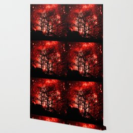 black trees red space Wallpaper