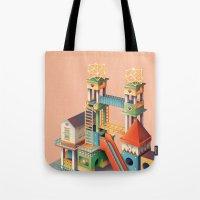 escher Tote Bags featuring Escher playground  by Chiara Vercesi