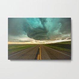 Road Trip - Twisting Storm Over Highway in Western Nebraska Metal Print