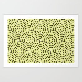 Circle Swirl Pattern VA Lime Green - Lime Mousse - Bright Cactus Green - Celery Art Print
