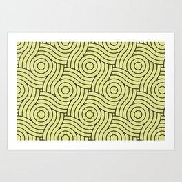 Circle Swirl Pattern VA Lime Green - Lime Mousse - Bright Cactus Green - Celery Art Print