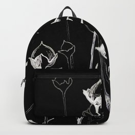 Graphic art. White ink and black cardboard. Flowers Backpack