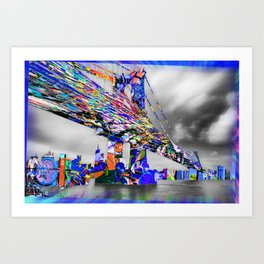 New York City Manhattan Bridge Pure Pop Blue Art Print