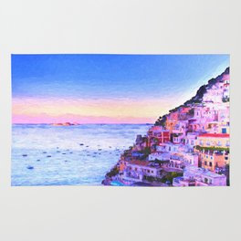 Twilight Over Positano, Italy Rug
