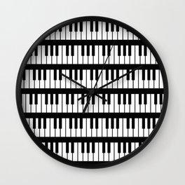 Black And White Piano Keys Pattern Wall Clock