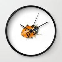 ladybug Wall Clocks featuring Ladybug by Bree Madden