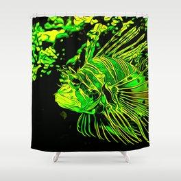 lionfish vector art green Shower Curtain