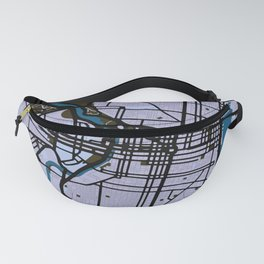 Philadelphia Street Map // Blue Theme Fanny Pack