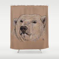 polar bear Shower Curtains featuring Polar Bear by Ursula Rodgers