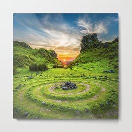 Green nature circle Metal Print