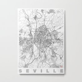 Seville Map Line Metal Print