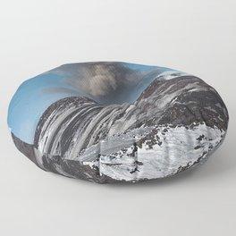 volcano mountain cloud ash Floor Pillow