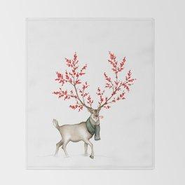 Rudolph the Winterberry Antler'd Reindeer Throw Blanket