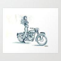 Retro Moto Girls - Thunderbird Art Print