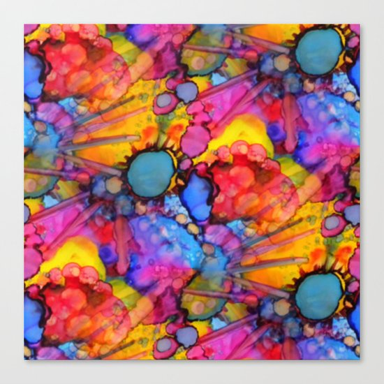Rainbow Splats Alcohol Inks Canvas Print