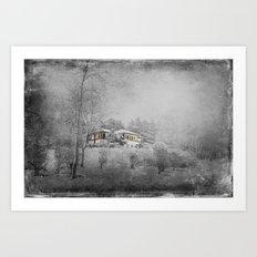 the villa in snowlandscape Art Print