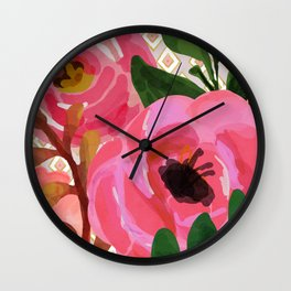 Composition watercolor flowers and rhombuses Wall Clock