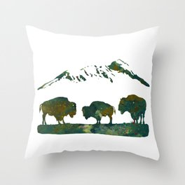 Buffaloes in Nature Scenery Throw Pillow