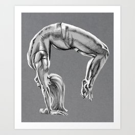 Bend Over Backwards Greyscale Art Print
