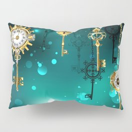 Antique Keys on Green Background ( Steampunk ) Pillow Sham