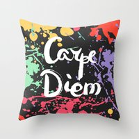 carpe diem Throw Pillows featuring Carpe diem by Julia Badeeva