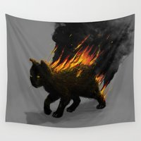 satan Wall Tapestries featuring This Cat Is On Fire! by nicebleed