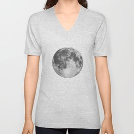 Full Moon phase print black-white monochrome new lunar eclipse poster home bedroom wall decor Unisex V-Neck