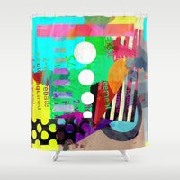 good vibes Shower Curtains featuring Good Vibes by Lynsey Ledray