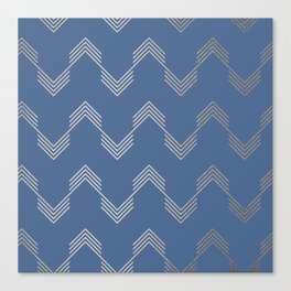 Simply Deconstructed Chevron White Gold Sands  on Aegean Blue Canvas Print