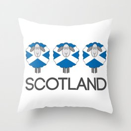 Trio of Scottish Saltire Flag Patterned Sheep Throw Pillow