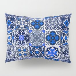 -A34- Blue Traditional Floral Moroccan Tiles. Pillow Sham