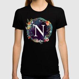 Personalized Monogram Initial Letter N Floral Wreath Artwork T-shirt