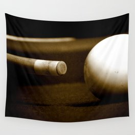 Pool Table-Sepia Wall Tapestry
