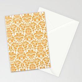 Elegant Damask Pattern (orange) Stationery Cards